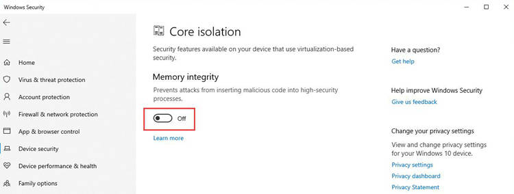 Turn Off Memory Integrity On Windows Security