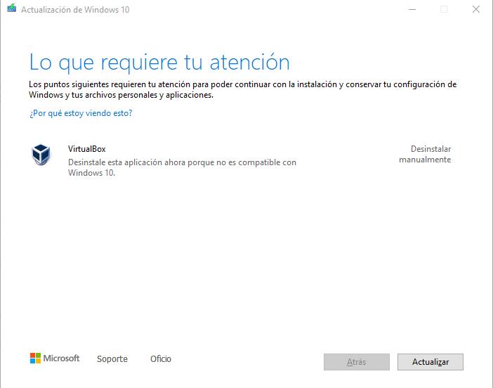 ¿Cómo resolver el error de virtualbox debido a la actualización de Windows?