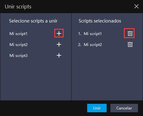 ¿Cómo unir scripts en el emulador?