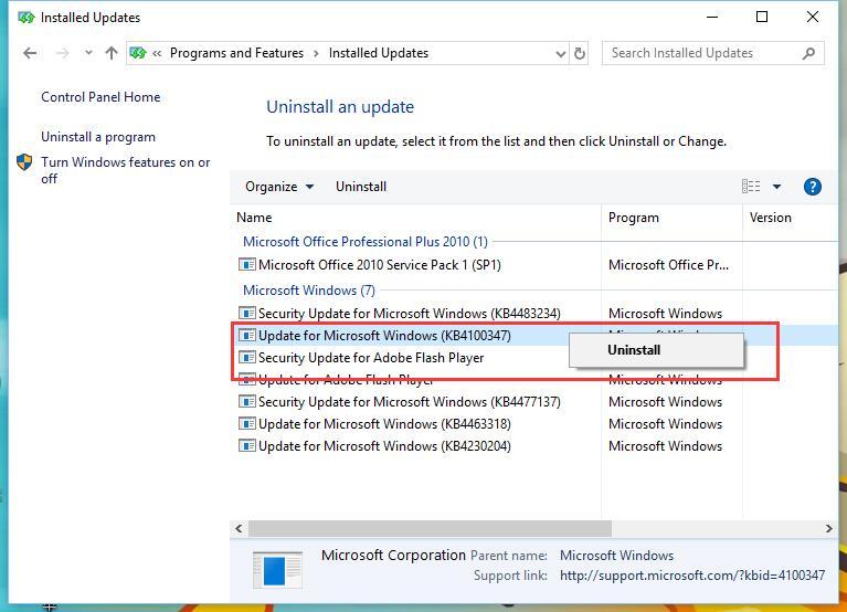 Gỡ cài đặt bản cập nhật KB4100347 dành cho Windows 10 để cải thiện 10% hiệu suất CPU