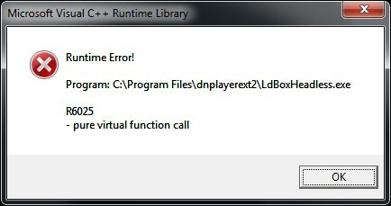 Microsoft visual c++ runtime library R60...