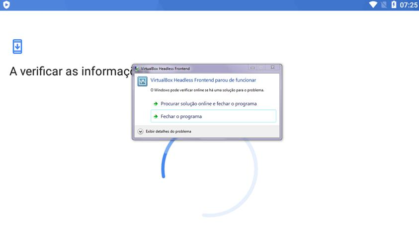"Como resolver ""VirtualBox Headless Front..."